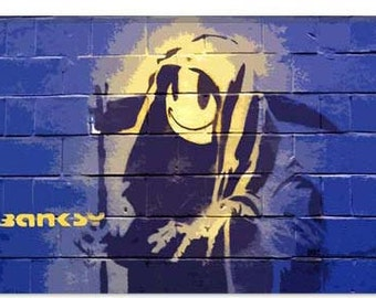 """Smiley Death Grim Reaper by Banksy Canvas Art Print (2056) 61""""x41"""" Thick Bars"""