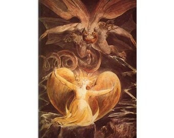 """The Great Red Dragon and the Woman Clothed with Sun 1805 by William Blake Canvas Art Print (1173) 40""""x26"""""""