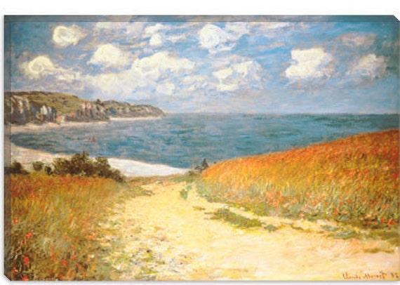 "Path Through The Corn At Pourville by Claude Monet Canvas Art Print (1307) 61""x41"" Thick Bars"