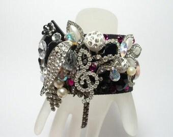 NOLA Jazz Music Rhinestone Artisan Cuff Bracelet
