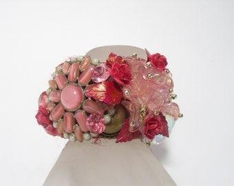 Perfect Rosie Pink Rhinestone Artisan Cuff Bracelet