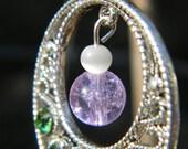 Peridot Green Swarovski Crystal Earrings w Crackle and Cats Eye Glass