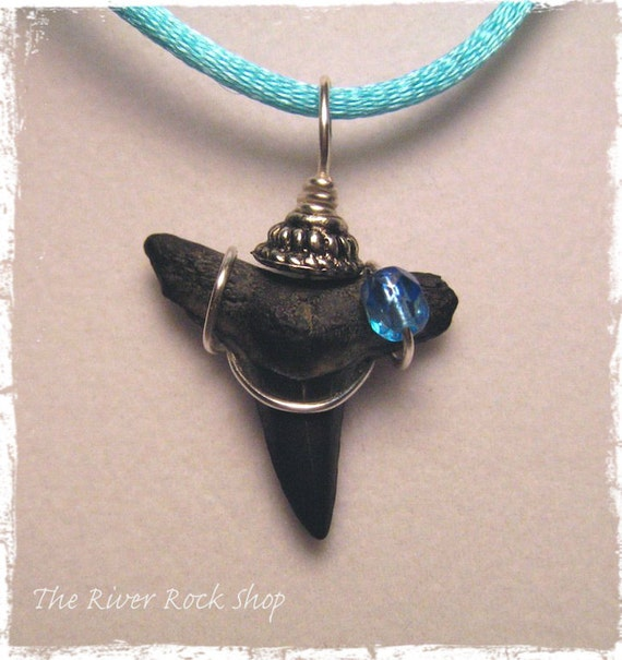 Designer Wire Wrapped Sharks Tooth..Blue Czech Glass and Silver - M202