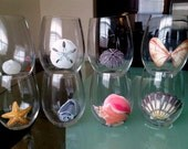 Hand Painted Sea Shell wine glasses