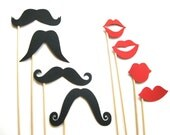 Photo Booth Prop Set - Mustache and Lips On a Stick - Mr. and Mrs. Collection - 8 piece set - Photobooth Props