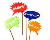Photo Booth Props -  Comic Book Word Bubbles - 4 piece set - Photobooth Props