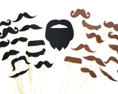 Photo Booth Props - Mustaches and Beard on a stick - 25 piece prop set - Photobooth Props