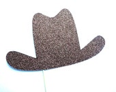 Photo Booth Props - BROWN GLITTER Cowboy Hat Prop - Birthdays, Weddings, Parties - Photobooth Props