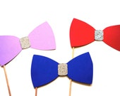 Photo Booth Props on a Stick - GLITTER Bow Ties - Set of 3 Glitter Bow Ties - Photobooth Props