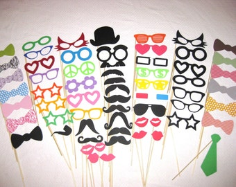 HUGE Photo Booth Prop Set  - Ultimate Party 62  piece set - Photobooth Props Best Party Props