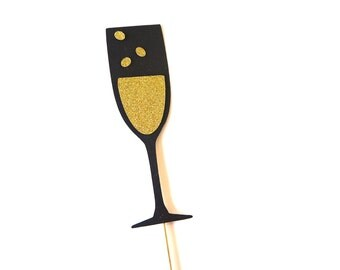 Photo Booth Props - Champagne Glass Photo Prop - GLITTER Photobooth Prop