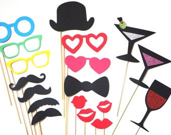 Photo Booth Props - The Boogie Nights Collection - 18 piece prop set - Birthdays, Weddings, Parties - Photobooth Props