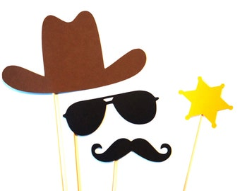 Photo Booth Props - Cowboy Photo Prop Set - 4 piece set - Birthdays, Weddings, Parties - Photobooth Props