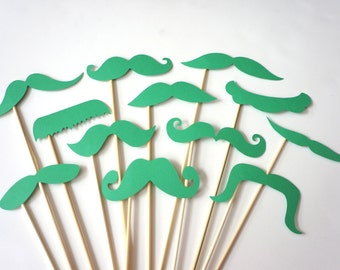 Photo Booth Props  - Mustache Bash - Set of 12 GREEN Mustaches on a stick - Photobooth Props Party Props