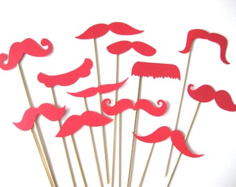 Photo Booth Props  - Mustache Bash - Set of 12 RED Mustaches on a stick - Photobooth Props Party Props
