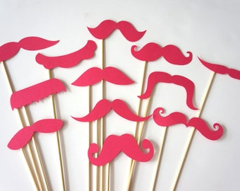 Photo Booth Props  - Mustache Bash - Set of 12 HOT PINK Mustaches on a stick - Photobooth Props Party Props