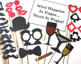 The Las Vegas Collection - Set of  30 Photo Booth Props with Glitter - Photobooth Props - Casino