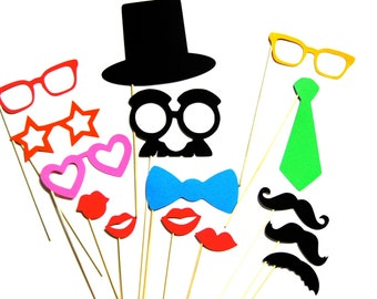 Colorful Photo Booth Props  - 15 piece set - Photobooth Props Party Props