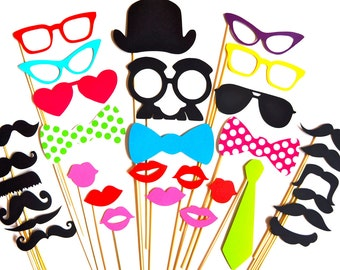 SALE - Best Photo Booth Props - 32 piece set - Birthdays, Weddings, Parties - Photobooth Props