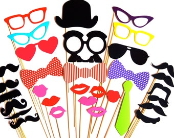 SALE - Brightly Colored Photo Booth Props - 32 props on a stick