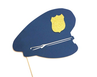 Photo Booth Props - Police Officer Hat  with GLITTER badge - Cop Hat Photobooth Props