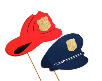 Photo Booth Props - Set of 2 Hats on a stick - Firefighter and Police hats with GLITTER - Photobooth Props