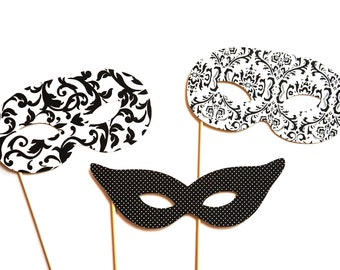 Photo Booth Props - Masquerade Masks - 3 piece set - Birthdays, Weddings, Parties - Photobooth Props