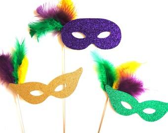 Photo Booth Props - Glitter Mardi Gras Masks - Set of 3 Glitter Props - Photobooth Props