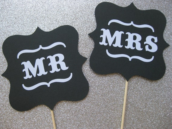 Mr and Mrs Wedding Signs - Photo Booth Props