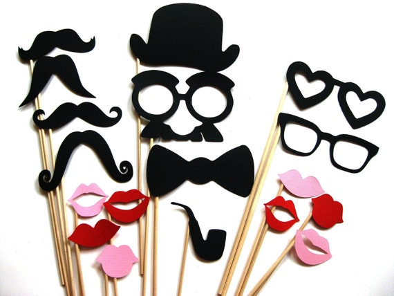 Photo Booth Props - The Sexy Collection - 18 piece set - Birthdays, Weddings, Parties - Photobooth Props