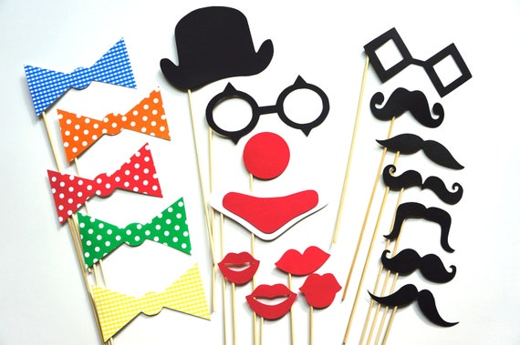 Super Photo Booth Props - The Circus Collection - 20 piece set - mustaches on a stick, lips, clown, circus- Photobooth Props