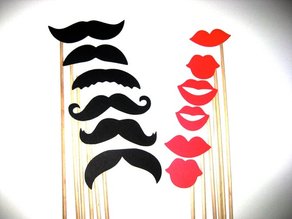 Photo Booth Props - Mustaches and Lips - 12 piece set - Birthdays, Weddings, Parties - Photobooth Props