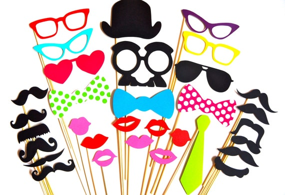 SALE - Fun Photo Booth Props - 32 piece prop set - Birthdays, Weddings, Parties - Photobooth Props