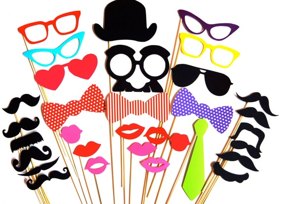 SALE - Colorful Photo Booth Props - 32 piece prop set - Birthdays, Weddings, Parties - Photobooth Props