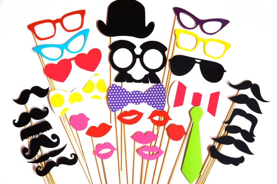32 piece colorful Photo Booth Prop Set - Perfect for your next party or event - ON SALE for a limited time only