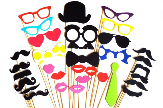 SALE - Super Photo Booth Prop Set - 32 pieces - Birthdays, Weddings, Parties - Great Photobooth Props