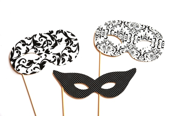 Black and White Photo Booth Props - Masquerade Masks - 3 piece set - Birthdays, Weddings, Parties - Photobooth Props