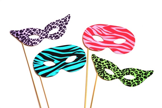 Colorful Photo Booth Props - Masquerade Masks - 4 piece set - Birthdays, Weddings, Parties - Photobooth Props