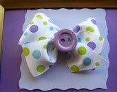 girls baby girl toddler girl purple polka dot ribbon  button hair clip
