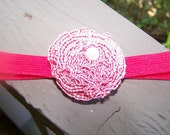 baby girl -toddler girl red check headband with pearl fabric flower