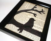 Collage Wall Art, Resting Bird, Framed Book Page Hanging Picture
