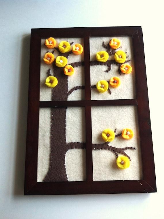 Flower Tree Art, Felted Wall Hanging, Window Framed Felt Button Flower Forest, OOAK 3D Summer Spring Fiber Art