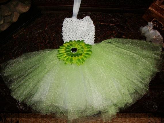 Boutique Baby Girls Green Tutu Dress SET Crochet Top Tulle Double Layer Skirt & Flower Hair Clip Newborn Infant to 3T