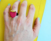 Handmade plastic-rubber Ring with Strawberry