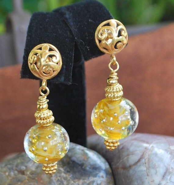 Beautiful golden lampwork and vermeil earrings