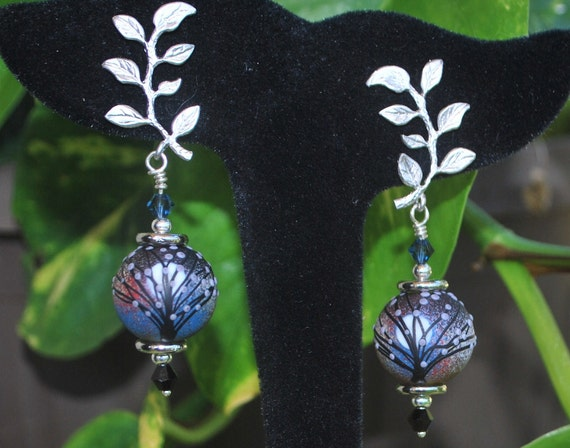 Winter trees: Artisan crafted lampwork beads and sterling