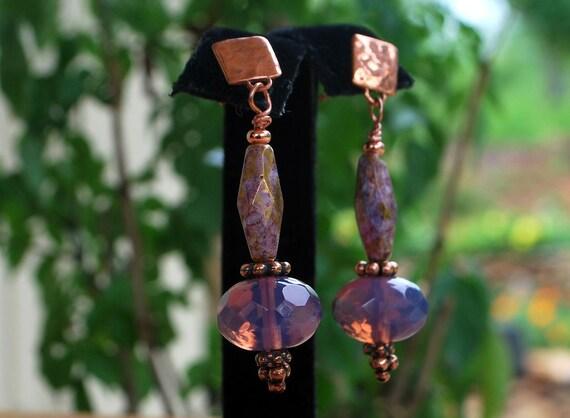 Lovely lavender gold copper czech glass earrings