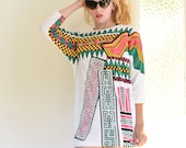 Wild Geometric Tribal Print 80s Shirt Dress Colorful Bright and Awesome Size Small