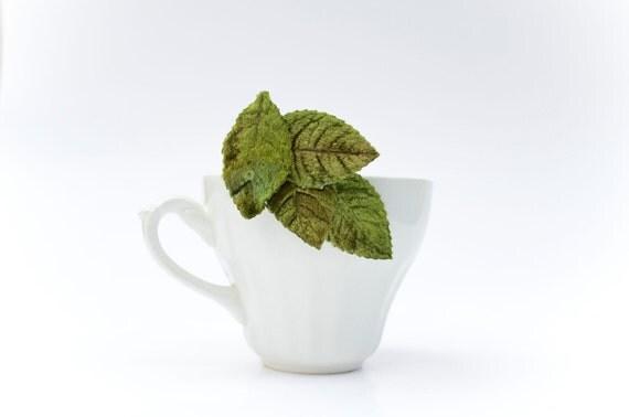 Green Velvet Leaf Clip Barrette Woodland Fascinator with Vintage Leaves