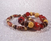 INDIA PALACE Red and Brown Chunky Bracelet Set